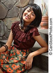 teenage girl sit down on stair - teenage girl sit down on...