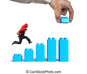 Man carrying arrow up running bar graph block hand building