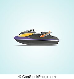 Jet ski illustrations - vector graphics, modern flat...