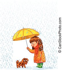 Protect pet from autumn rain - The girl under an umbrella...