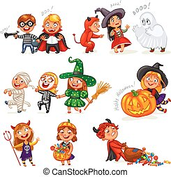 Happy Halloween. Funny little children in colorful costumes....