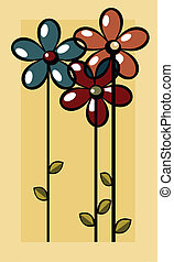 Art-deco - Art deco illustration with stylized flowers