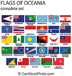 Flags of Oceania, all countries in original colors