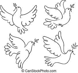 Dove of Peace - Set of vector symbols dove of peace. Black...