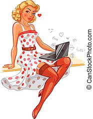 Sexy Pin-up girl - Pin-up girl. Concept for online internet...