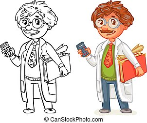 Old professor in lab coat. Funny cartoon character. Vector...