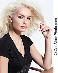Young European attractive model with long blond hair, full...