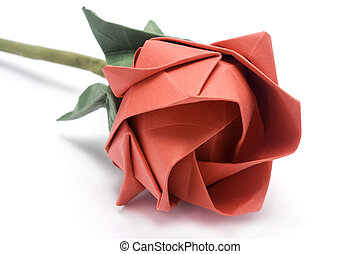 paper rose - Red origami rose made of paper isolated in...