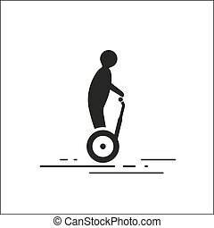 Segway on white background - vector graphics, modern flat...