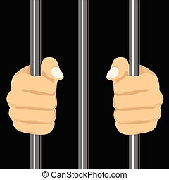 person locked behind bars - cropped illustration of a person...