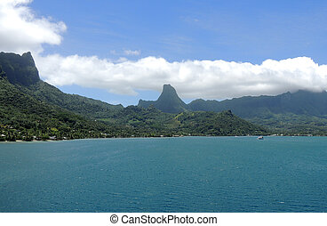 View of Bora Bora, Society Islands, French Polynesia.