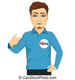 student council candidate promoting himself - portrait of...