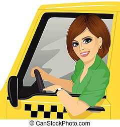 taxi female driver with sunglasses in yellow car smiling