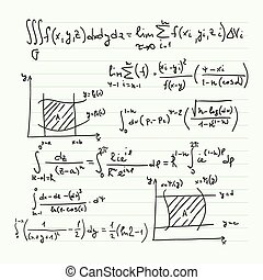 Vector pattern with mathematical formulas, calculations,...