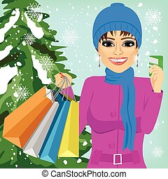 woman shopping on christmas winter day