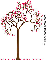 cherry tree - spring tree with cherry blossom, vector