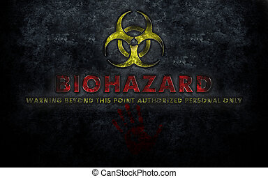 Biohazard Sign With Blood Handprint