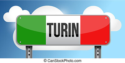 turin italy road street sign illustration design graphic