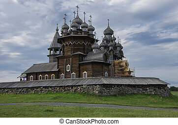 Traditional wooden Russian  church