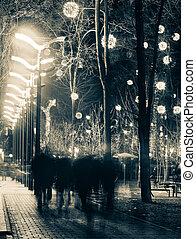 Walking people of city boulevard
