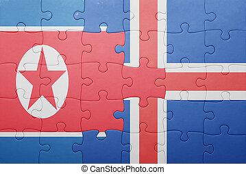 puzzle with the national flag of north korea and iceland...