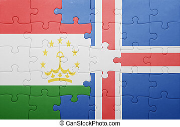 puzzle with the national flag of tajikistan and iceland ....