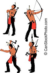 Brave Indian Warrior - Silhouettes of brave Indian soldier...