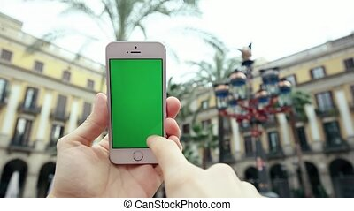 Using Mobile Phone Green Screen Against Palm Tree - Man Hand...