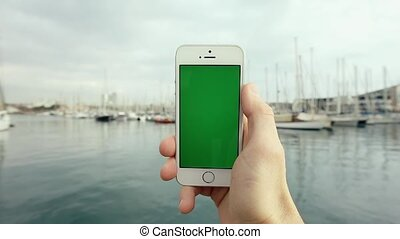 Green Screen Mobile Phone With Yachts Sunny Day