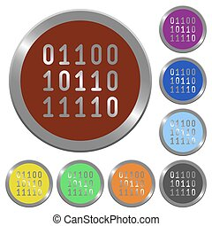 Color binary code buttons - Set of glossy coin-like color...