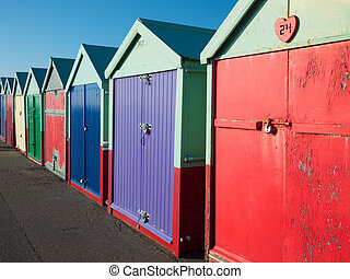 Brighton beach huts - Beach huts on the seafront at Brighton