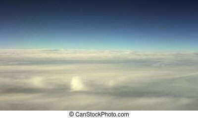 Flying Through The Clouds. Crew View - Traveling by air....