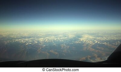 Traveling by Air. View Through an Airplane Window.