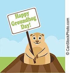 Happy Groundhog Day - Groundhog peeps out from burrows and...