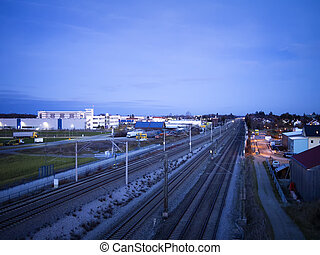 Night scene railroad and industrie buildings - Night scene...