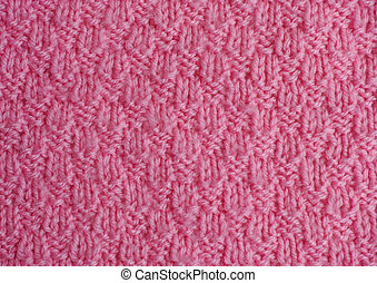 Pink hand knitted texture, Close-up.