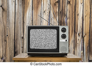 Vintage Television with Rustic Wood Wall and Static Screen