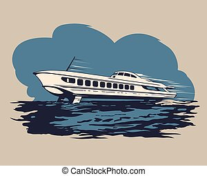 Hydrofoil ship 1 - Hydrofoil ship with passengers traveling...