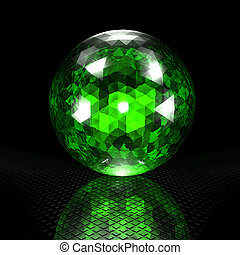gem on a black background, render