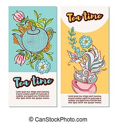 Tea time design banner templates set - Time to drink tea...