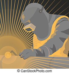 Illustration of welder worker - vector graphics, modern flat...