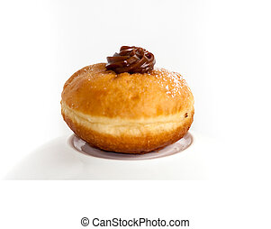sufgniya - Fresh chocolate sufgniya donut isolated on white...