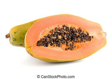 Fresh and tasty papaya on white background