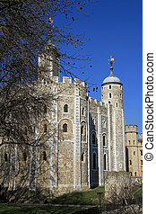 White Tower - The White Tower in the Tower of London walled...