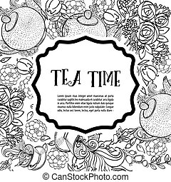 Time to drink tea The square monochrome fashion card, party...