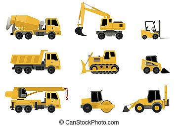 Construction machines icons. - Construction machines in flat...