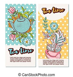 Time to drink tea Vertical banners with retro polka dot on...