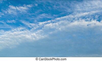 nubes, Mudanza, en, el, azul, sky.,