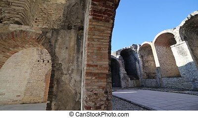 Walking inside Forte Interrotto of First World War in the...