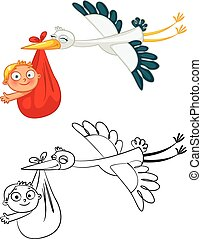 Stork carrying a cute baby Funny cartoon character Coloring...